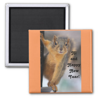 Happy New Year Squirrel Magnet