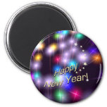 Happy New Year Star Lights 6 Cm Round Magnet