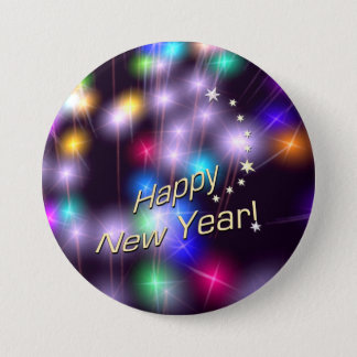 Happy New Year Star Lights 7.5 Cm Round Badge