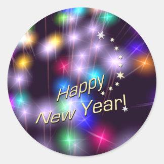 Happy New Year Star Lights Classic Round Sticker