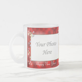 Happy New Year Stars 2-Photo Frame Frosted Glass Mug