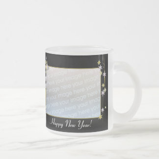 Happy New Year Stars Black 2-Photo Frame Frosted Glass Mug