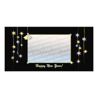 Happy New Year Stars Black Picture Card