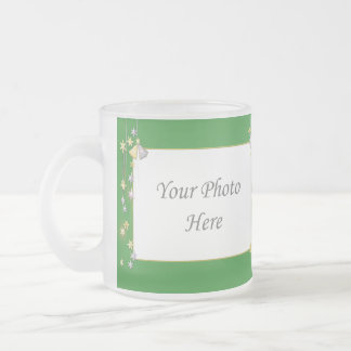 Happy New Year Stars Green 2-Photo Frame Frosted Glass Mug