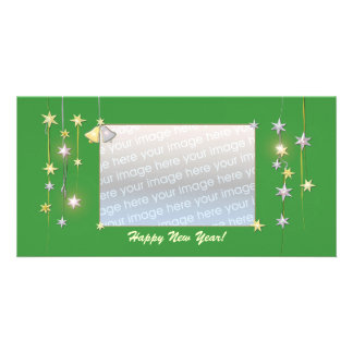 Happy New Year Stars Green Photo Cards
