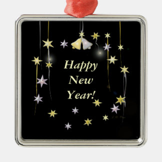 Happy New Year Stars on Black Christmas Ornament