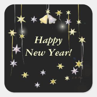 Happy New Year Stars on Black Square Sticker
