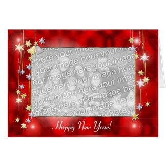 Happy New Year Stars (photo frame) Greeting Card