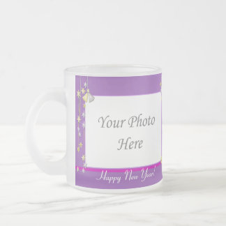 Happy New Year Stars Purple 2-Photo Frame Frosted Glass Mug