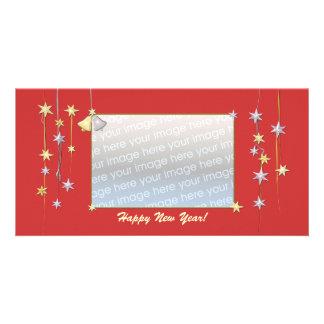 Happy New Year Stars Red Custom Photo Card