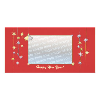 Happy New Year Stars Red Photo Greeting Card