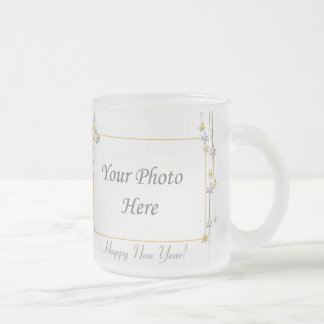 Happy New Year Stars White 2-Photo Frame Frosted Glass Mug