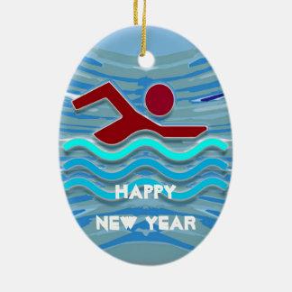HAPPY NEW YEAR  Swim Club Swimmer Swimming Christmas Ornament