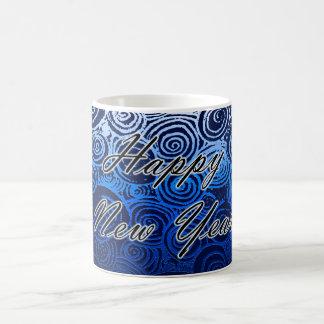 Happy New Year Swirls Blue Coffee Mug