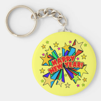 Happy New Year T-shirts, Beer Steins, Party Favors Basic Round Button Key Ring
