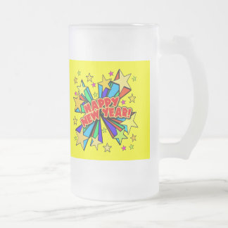 Happy New Year T-shirts, Beer Steins, Party Favors Frosted Glass Mug
