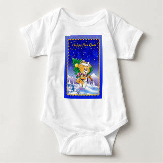 Happy New Year Teddy Bear Infant Creeper