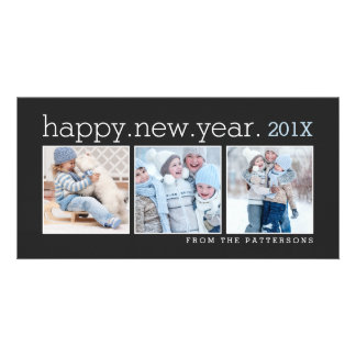 Happy New Year Three Photo Classic Black Photocard Card