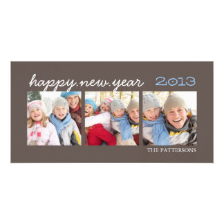Happy New Year Three Photo Mocha Photocard Custom Photo Card