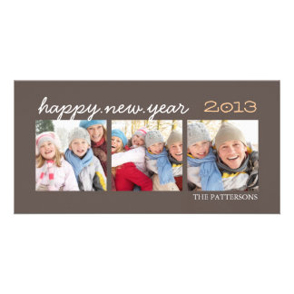 Happy New Year Three Photo Mocha Photocard Photo Card Template