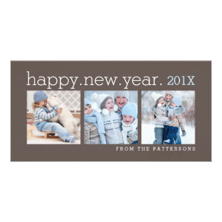 Happy New Year Three Photo Mocha Photocard Photo Greeting Card