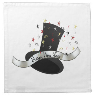 HAPPY NEW YEAR TOP HAT COCKTAIL NAPKINS (set of 4)