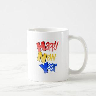 Happy New Year Tri Color 1 Basic White Mug