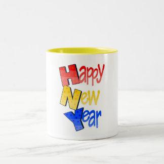 Happy New Year Tri Color 1 Two-Tone Mug