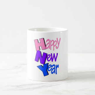 Happy New Year Tri Color 2 Basic White Mug