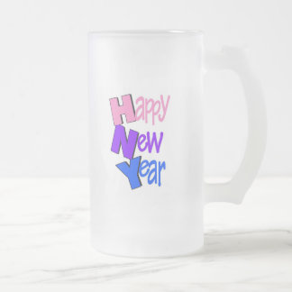 Happy New Year Tri Color 2 Frosted Glass Mug