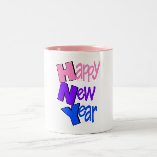 Happy New Year Tri Color 2 Coffee Mugs