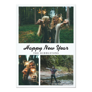 Happy New Year Typography Casual | Three Photos Card
