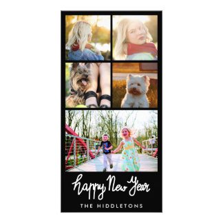 Happy New Year Typography Five Photo Collage Customised Photo Card