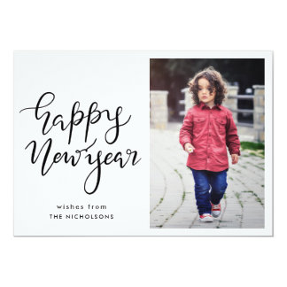 Happy New Year Typography Minimalist  Photo Card