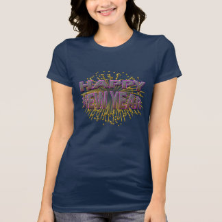 Happy New Year Unique Pink Gold Fireworks T-Shirt