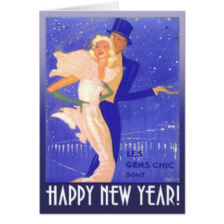 Happy New Year Vintage Art Deco Couple Greeting Card