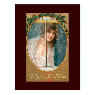 Happy New Year Vintage Postcards Lady in WIndow