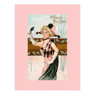 Happy New Year Vintage Postcards Lady Masquerade