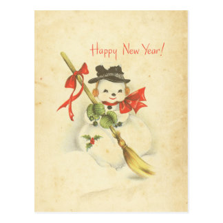 Happy New Year Vintage Snowman Red Bow Holly Broom Post Card