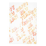 happy new year white custom stationery