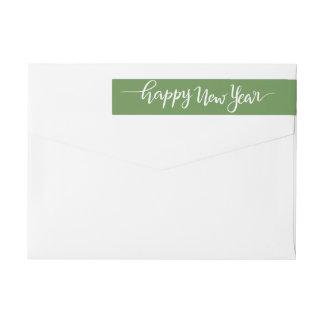 Happy New Year White Handwritten Script Green Wrap Around Label