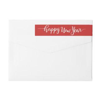 Happy New Year White Handwritten Script Red Wrap Around Label