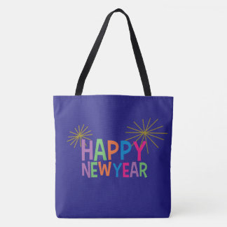 Happy New Year with Fireworks Tote Bag