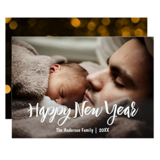 Happy New Year with Photo 13 Cm X 18 Cm Invitation Card