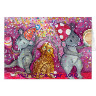 Happy New Year with Rats and a Cat Card