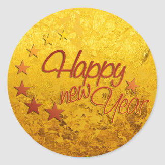 HAPPY NEW YEAR with starlight + gold leaf Classic Round Sticker