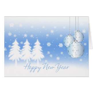 Happy New Year With Winter Trees And Baubles Greeting Card