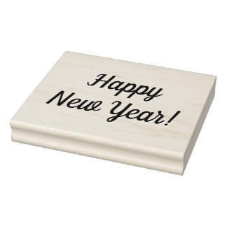 Happy New Year Wooden Block Mounted Rubber Stamp