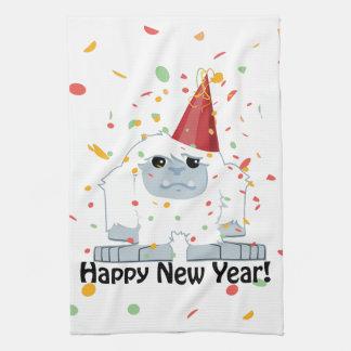 Happy New Year Yeti Tea Towel