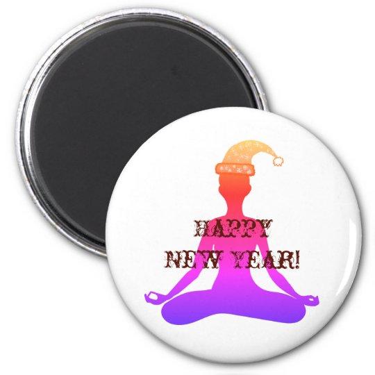Happy New Year Yoga Meditation Lady Magnet